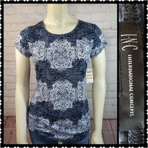 Inc international small NWT blue Crew neck top